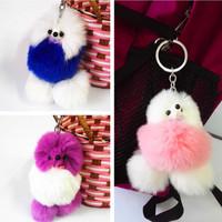 Sweet Rabbit Bunny Rex Rabbit Fur Keyring Bag Tag KEY CHAIN Fashion Accessories