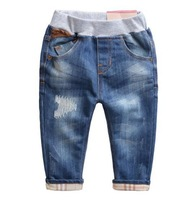 The boy in the spring of 2015 the new tide children hole slacks Baby blue jeans  A13.6Free shipping