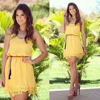 new fashion 2015 summer dress women Stitching sleeveless Slim yellow party mini lace dress