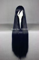 105cm Long Straight Dark Blue Cosplay Costume Wig Fashion Cosplay Wig Kanekalon Hair brazilian no Lace Front Wigs