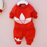 2015 New cotton Toddlers children baby boys girls autumn spring 2 pcs clothing set suit Pattern baby shirt + pants sets
