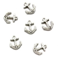 Crystal Anchor Floating Charms Floating Locket charm Fits Living lockets 20pcs/lot Free shipping