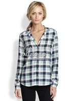 Equipment Original EQ 100% real silk V neck plaid women long sleeve soie blouses autumn shirts