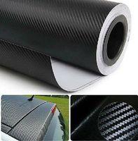 "127x30cm Car Stickers Gloss Black Carbon Fiber Vinyl Vehicle Wrap Film Sheet 50""x11.8"" free shipping"