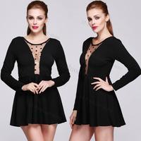 Fashion Black Sexy Women Plus Size Long Sleeve Backless Dresses Evening Mini Dress Vestidos Femininos