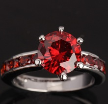 Fashion Jewelry GORGEOUS Red Garnet Silver Rings US Size 6 7 8 9 T0399