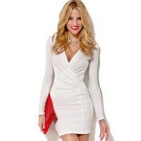 2015 new brand bohemian solid color women dress slim deep V-neck long sleeve OL sexy women mini dress J1096