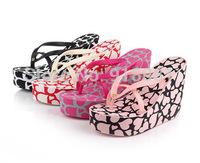 2015 new summer high heels women Crown Love flip flops slippers female platform wedges slippers girl's beach sandals Shoes