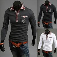 High Quality New Fashion Design Men Polo T-shirt Long Sleeve 3 Colors Slim Men Solid Polo Shirt Freeshiping Size M-XXL