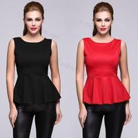 New Stylish Women's Sleeveless Blouse O-neck Casual Tops Ladies Slim Tank Fashion Black Red S M L