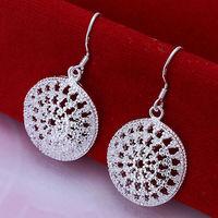 New Women Men Earrings Jewelry 925 Sterling Silver Drop Earrings Fashion Women Hollow Out Round Earrings Jewelry Wholesale
