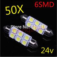 50pcs 24v 6SMD White LED 41 39 36 31mm SV8.5 C5W Car Dome Festoon Interior Light Bulbs Auto Car Festoon Licence Plate Dome Roof