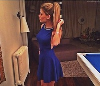 2015 European and American nightclub Pure sexy halter sleeveless vest dress with diamond