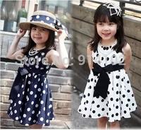 Kids Baby Summer Dot Casual Dress For Girls Costume Chiffon A-Line Sleeveless Girl Princess Dresses Retail 2-9Years Children