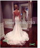 Elengant Stylish Sweetheart Spaghetti Straps Sweep Train Lace Mermaid Backless Bridal Dress