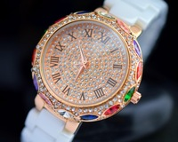 Ceramics wristwatch High-end fashion handmade diamond paste watch Quartz Girl women Watches 10pcs/lot