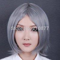 Japan Anime Synthetic Fiber Silver Medium Cosplay Wig
