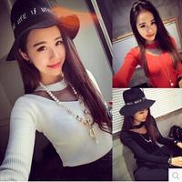 2015 New Arrival Hot Sales Women Korean Fashion Sexy Knitting T-shirt Slim Perspective T-shirt 1pc/lot