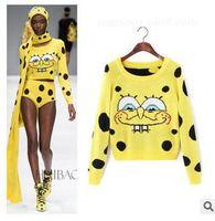 Free Shipping runway fashion women's cute o-neck long sleeve knitted SpongeBob pattern cartoon pullover sweater knitwear