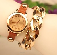Hot sell Gift Gold chain wristwatch Fashion Bracelet watch Quartz women Girl student Watches 50pcs/lot