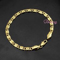 Mens Womens Snail 18k Yellow Gold Filled Bracelets Link Chains 4mm 20cm Length