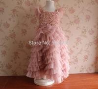 Free shipping new arrival Rosette Sleeveless Princess floral ball gowns Wedding Dress Children's flower tutu Summer Party Dress