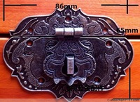 86 * 65mm box metal buckle Antique Wine Box buckle lock panel can be equipped with padlock hasp password