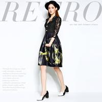 Mi15012230 fashion high quality diamond buckle flower lace patchwork print slim one-piece dress