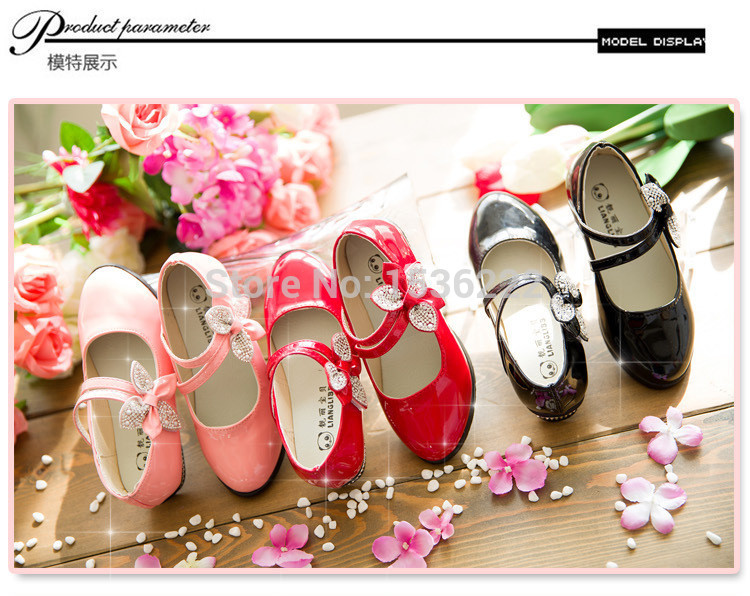 2015 spring new autumn round toe single children shoes girls princess bling kids leather shoes girls party dress shoes(China (Mainland))