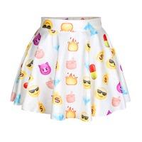 New Fashion Funny Bubble Skirt Summer Mini Skirt Blue Color Emoji Skirt For Women
