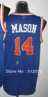 New York #14 Anthony Mason Men's Authentic Hardwood Classics Throwback Road Blue Basketball Jersey