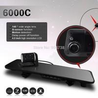 6000C HD Dual Lens Camera Car Rearview Mirror DVR Viedo Recorder Car DVR Blackbox G-Senser Free shipping