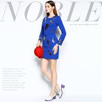 Mi15012205 fashion high quality handmade paillette print slim one-piece dress