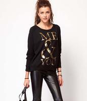 2015 New Spring Fashion Women Sweatshirts Brand Top Casual Black Long Sleeve Golden Letters Print O-Neck Pullover Sweatshirt