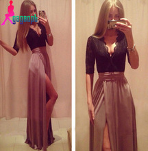 2015 new hot sexy deep V lace stitching bandage hollow side slit skirt waist dress woman dress party dresses evening dresses
