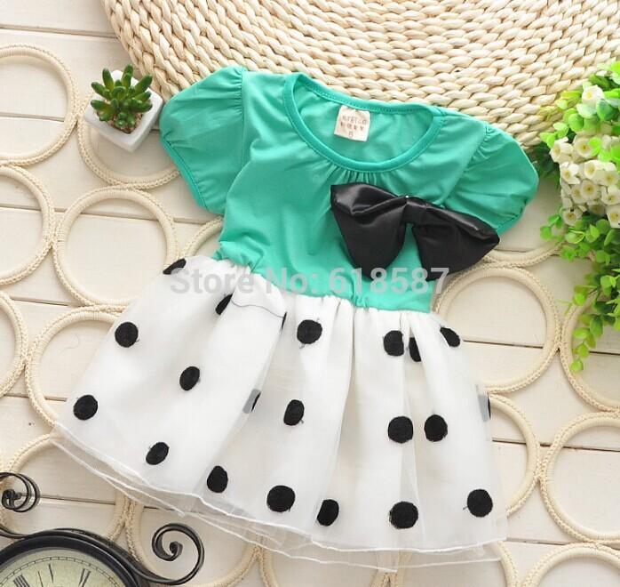 New 2015 girls summer dress dot bow lace veil princess tutu dress toddler dresses vestidos de menina girls clothes free shipping(China (Mainland))