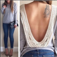 New Womens Backless Long Sleeve Shirt Casual Blouse Tops Shirt Beaded Clothing