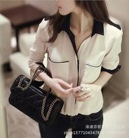 2015 New Women's Chiffon Blouses Long Sleeve Shirt Lapel Solid Beige Color Summer Autumn Button Pocket Loose Tops