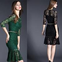 2015 NEW Three Quarter Sleeve Lace Dress Mermaid Cocktail Party Elegant Bodycon Pencil Sheath Crochet Prom Vestidos Robe Femme