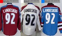 Colorado #92 Gabriel Landeskog Men's Authentic Home Scarlet/Road White/Third Blue Hockey Jersey