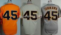San Francisco #45 Travis Ishikawa Men's Authentic Cool Base Alternate Orange/Home Cream/Road Grey Baseball Jersey