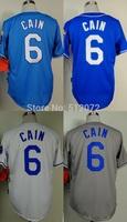 Kansas City #6 Lorenzo Cain Men's Authentic Cool Base Alternate Home Blue/Alternate Navy/Home White/Road Grey Baseball Jersey