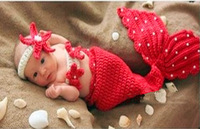 New Arrival  Baby Newborn photography props Knit Crochet Clothes Beanie Hat Outfit Photo Props  Baby Mermaid Caps#NA022