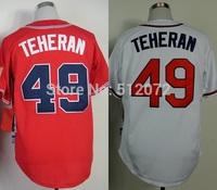 Atlanta #49 Julio Teheran Men's Authentic Cool Base Alternate Red/Home White Baseball Jersey