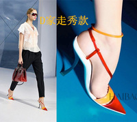Free shipping Summer color block decoration sandals belt pointed toe high heels sandals elegant women brand party shoes lx2467