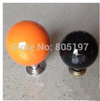 ceramic cabinet knob, cabinet door knob, orange or Black  100pcs/Lot