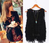 Celebrity Fashion Womens Fuzzy Knited Tassels Cardigan Vest Open Knit Crochet Tassel Waistcoat Sleeveless Winter Jacket