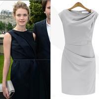 2015 New Fashion Elegant Celebrite O-neck Sleeveless Solid Pencil Party Cocktail Bodycon Women Dresses