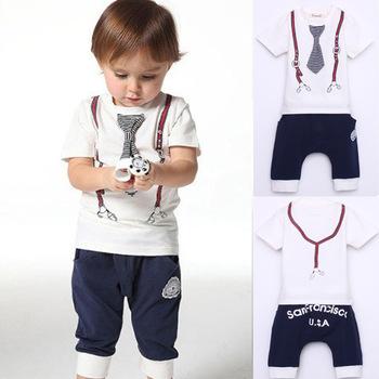 Новинка хлопок галстук для маленьких мальчиков пояс принт верх футболка шорты 1-5 лет белый комплект одежды для детей бесплатная доставка