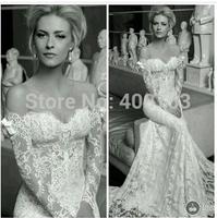 Wonderful Mermaid Sweetheart Sweep Train Lace  Long Sleeves Off the Shoulder Wedding Dress